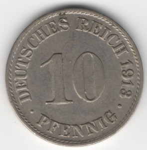 German Empire 10 Pfennig obverse