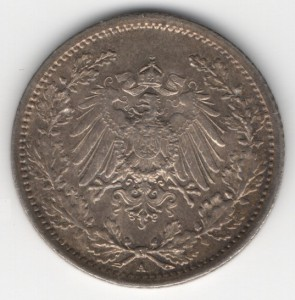 German Empire 1/2 Mark reverse