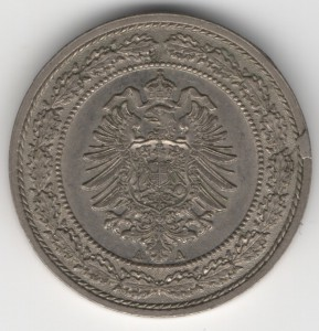German Empire 20 Pfennig reverse
