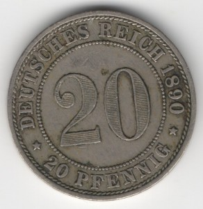 German Empire 20 Pfennig obverse