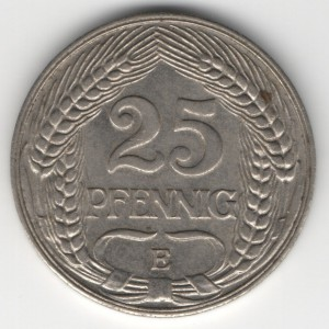 German Empire 25 Pfennig obverse
