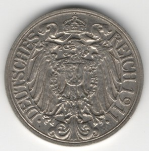 German Empire 25 Pfennig reverse