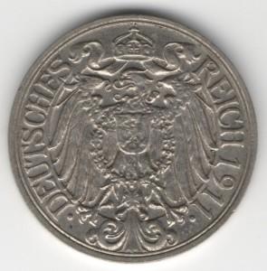 German Empire 25 Pfennig reverse
