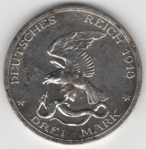 Prussia 3 Mark Wilhelm obverse