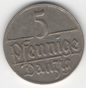 5 Pfennige Danzig obverse