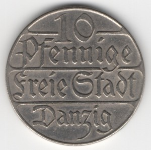 10 Pfennige Danzig obverse