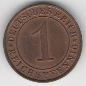 Weimar Republic coins 1 Pfennig