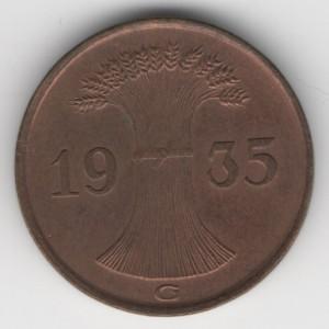 1 Pfennig reverse