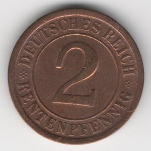 Weimar Republic coins 2 Pfennig