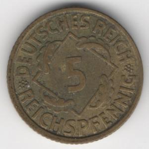 5 Pfennig obverse