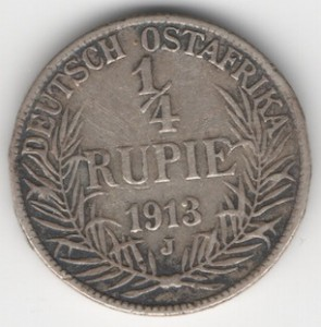 German East Africa 1/4 Rupee obverse