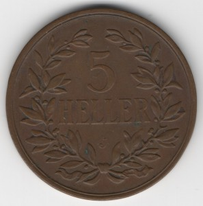 German East Africa 5 Heller obverse