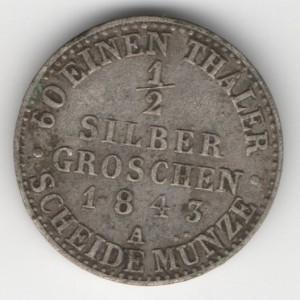 Prussia 1/2 Silbergroschen obverse