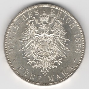Prussia 5 Mark Friedrich obverse