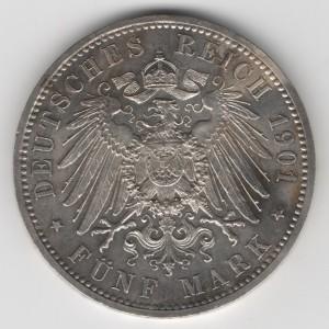 Prussia 5 Mark Wilhelm obverse