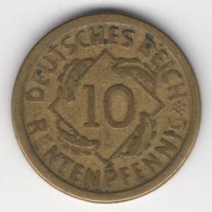 Weimar Republic coins 10 Pfennig