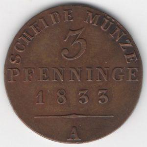 Prussia 3 Pfennige obverse