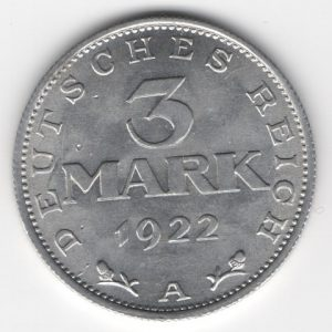 Weimar Republic 3 Mark 1922 A obverse