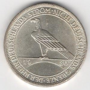 Weimar Republic 3 Reichsmark 1930 D Rhineland reverse