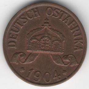 German East Africa 1/2 Heller reverse