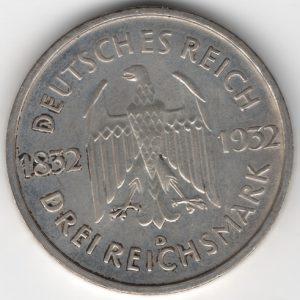 Weimar Republic 3 Reichsmark 1932 D Goethe obverse