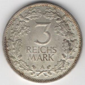 Weimar Republic 3 Reichsmark 1925 A Rhineland obverse