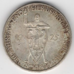 Weimar Republic 3 Reichsmark 1925 A Rhineland reverse