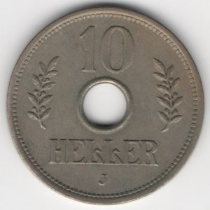 German East Africa 10 Heller 1909 J obverse