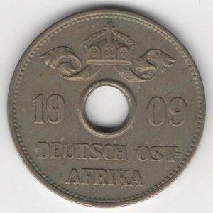 German East Africa 10 Heller 1909 J reverse