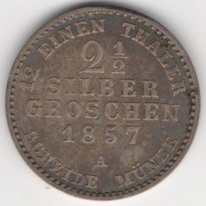 Prussia 2 1/2 Silbergroschen 1857 A obverse
