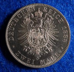 Prussia 2 Mark Wilhelm obverse